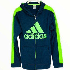 Adidas Hooded Sweatshirt Full Zip Blue XL Boys Kids Long Sleeve Kangaroo Pockets